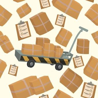Modèle sans couture avec des boîtes et des conteneurs pour la livraison