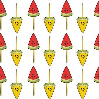 Modèle sans couture de bonbons ou de glaces au melon d'eau