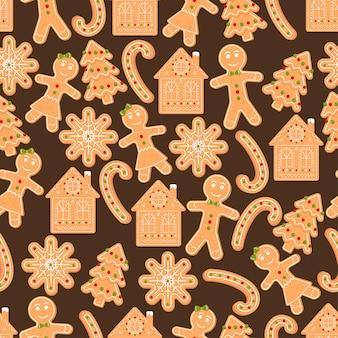 Modèle sans couture avec des bonbons maison flocon de neige bonhomme en pain d'épice