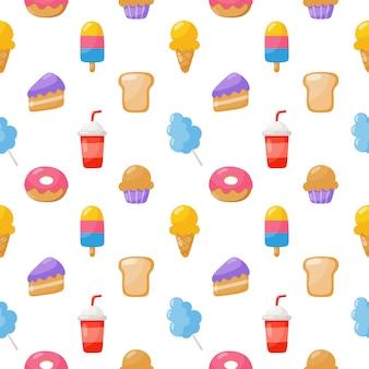 Modèle sans couture de bonbons mignon. bonbons desserts isolés sur blanc pour café ou restaurant.