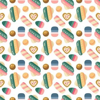 Modèle sans couture de bonbons de noël avec bonbons, canne à sucre et guimauve, dragée, gelée, biscuits au chocolat. vacances d'automne et d'hiver. papier peint, impression, emballage, papier, design textile. l'un des 20