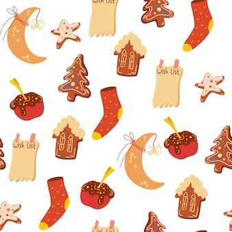 Modèle sans couture de bonbons de noël. pain d'épice, biscuits, maisons, pommes, chaussettes tricotées. vacances d'hiver confortables. fond d'hiver pour tissu, textile, vêtements, scrapbooking papier, planificateur. vecteur