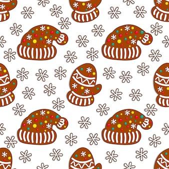 Modèle sans couture de bonbons de pain d'épice sur fond blanc