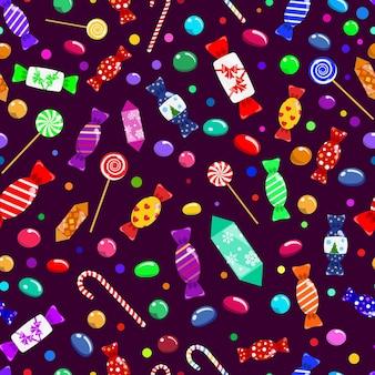 Modèle sans couture de bonbons, sucettes et bonbons