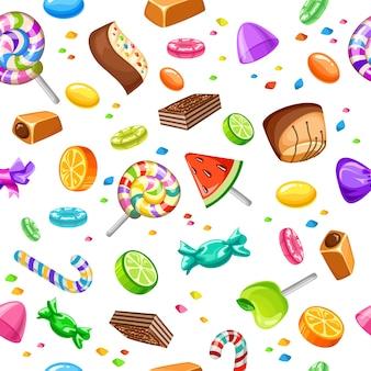Modèle sans couture de bonbons sucrés