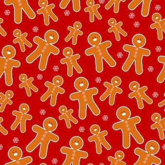 Modèle sans couture avec un bonhomme en pain d'épice sur fond rouge vif. télévision illustration vectorielle