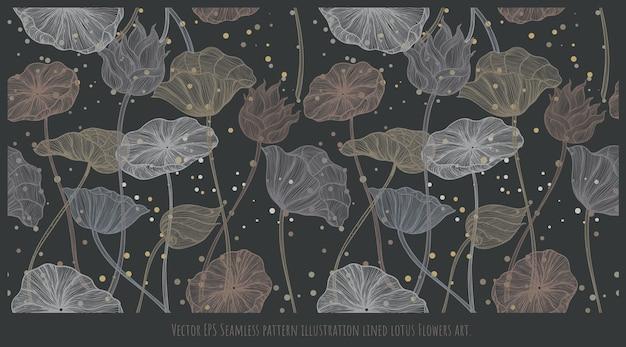 Modèle sans couture bordé d'illustrations dessinées à la main d'art de fleurs et de feuilles de lotus.
