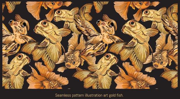 Modèle sans couture bordé d'illustrations dessinées à la main d'art de la natation de poissons dorés.