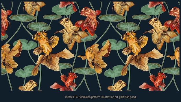 Modèle sans couture bordé d'illustrations dessinées à la main d'art de poissons dorés nageant avec des feuilles de lotus.