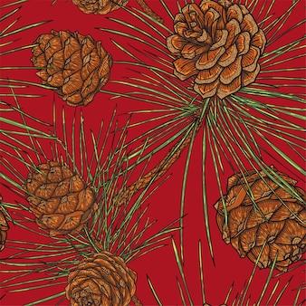 Modèle sans couture botanique de cônes de cèdre de noël, fond rouge