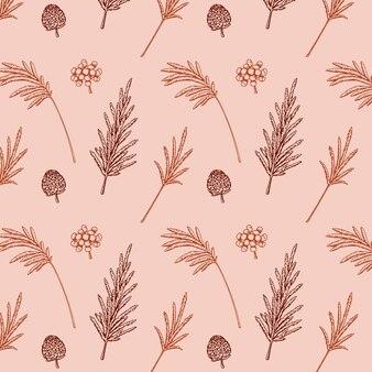 Modèle sans couture de botanique dessiné main avec l'herbe de la pampa