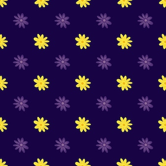 Modèle sans couture de botanique d'été avec impression de marguerite de fleurs jaunes doodle. fond violet foncé. conception graphique pour le papier d'emballage et les textures de tissu. illustration vectorielle.