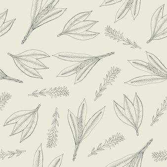 Modèle sans couture botanique avec des feuilles de curcuma et des inflorescences.