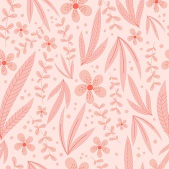 Modèle sans couture botanique avec des feuilles et des fleurs roses pastel.