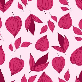 Modèle sans couture botanique avec des feuilles rose foncé.