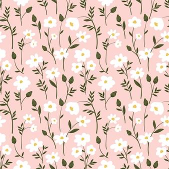 Modèle sans couture botanique avec des fleurs sauvages
