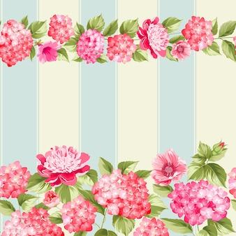 Modèle sans couture botanique. hortensia en fleurs sur fond vintage.