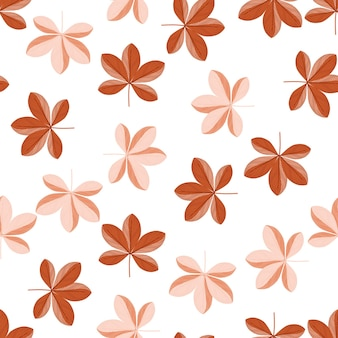 Modèle sans couture botanique isolé avec ornement floral de fleurs de scheffler dans les couleurs orange et rose