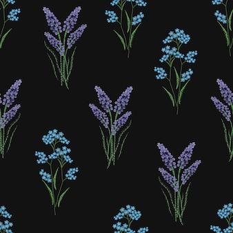 Modèle sans couture botanique avec lavande en fleurs brodées et fleurs de myosotis