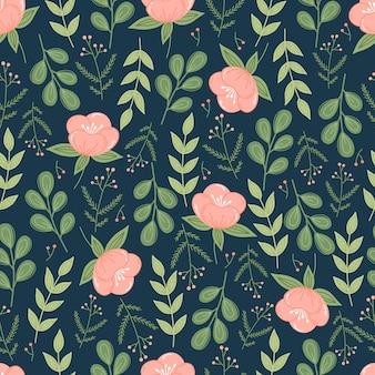 Modèle sans couture botanique à la mode avec des fleurs et des feuilles