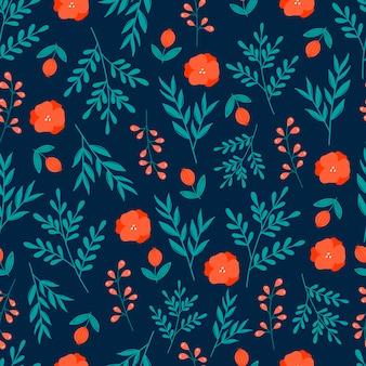 Modèle sans couture botanique moderne avec des fleurs rouges, des baies rouges et des feuilles vertes sur fond bleu foncé.