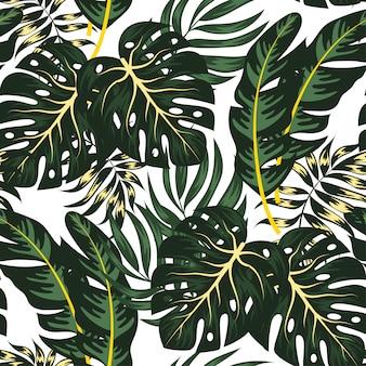 Modèle sans couture botanique avec des plantes et des feuilles tropicales
