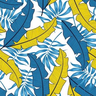 Modèle Sans Couture Botanique Avec Des Plantes Et Des Feuilles Tropicales Vecteur Premium