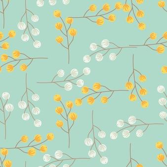 Modèle sans couture botanique avec des silhouettes de baies abstraites grises et jaunes