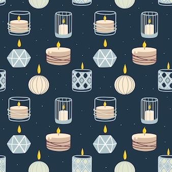 Modèle sans couture de bougies allumées parfumées. conception pour l'impression, les textiles, les emballages. spa et aromathérapie illustration vectorielle