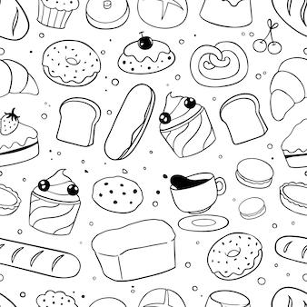 Modèle sans couture de boulangerie doodles