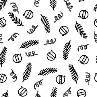 Modèle sans couture de boule de noël doodle. modèle de noël hiver style dessiné à la main. illustration vectorielle.