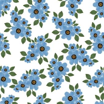 Modèle sans couture de bouquet de fleurs bleues pour la conception de tissu