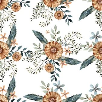 Modèle sans couture de bouquet de fleurs et de feuilles aquarelle