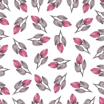 Modèle sans couture de bourgeons roses et de feuilles brunes