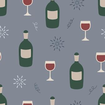 Modèle sans couture avec une bouteille de vin et un verre