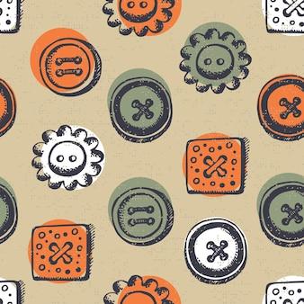 Modèle sans couture avec boutons dans un style rétro