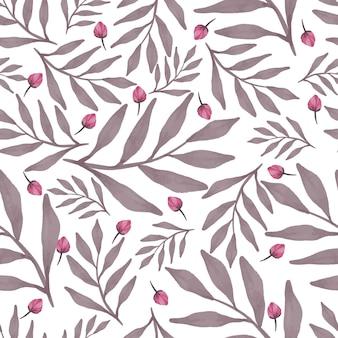 Modèle sans couture de boutons roses et de feuilles brunes