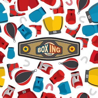 Modèle sans couture de boxe, fond de sport. matériel de boxe: gants et casque.