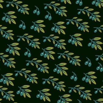 Modèle sans couture de branche d'olivier dans un style dessiné à la main