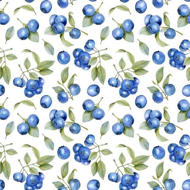 Modèle sans couture de branches d'aquarelle bleuets