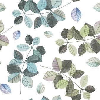 Modèle sans couture avec des branches aquarelles bleues et grises