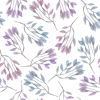 Modèle sans couture avec des branches aquarelles bleues et violettes