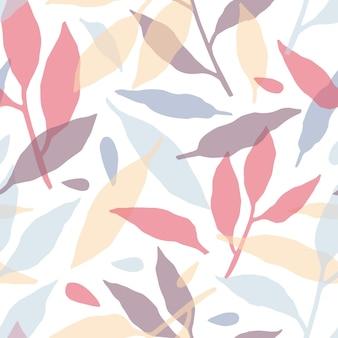 Modèle sans couture de branches d'arbres dessinés à la main