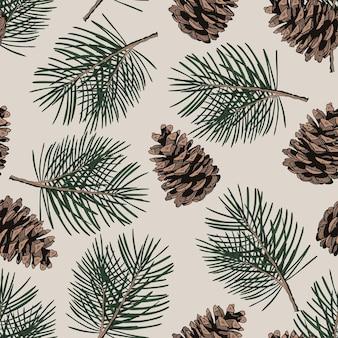 Modèle sans couture avec des branches et des cônes de pin. illustration vectorielle dessinés à la main