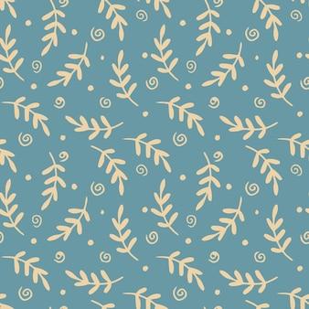 Modèle sans couture avec des branches et des feuilles et des griffonnages abstraits