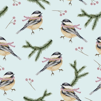 Modèle sans couture avec branches et oiseaux aquarelle hiver