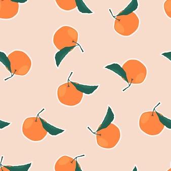 Modèle sans couture avec des branches d'oranges sur fond beige.
