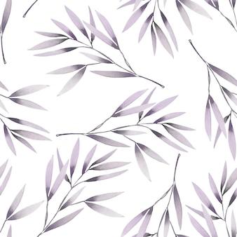 Modèle sans couture avec des branches pourpres aquarelles