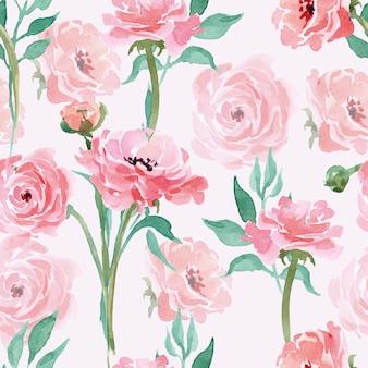 Modèle sans couture avec des branches avec renoncule en fleurs aquarelle. illustration vectorielle