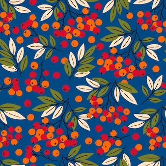 Modèle sans couture avec branches de rowan idéal pour le papier d'emballage textile en tissu